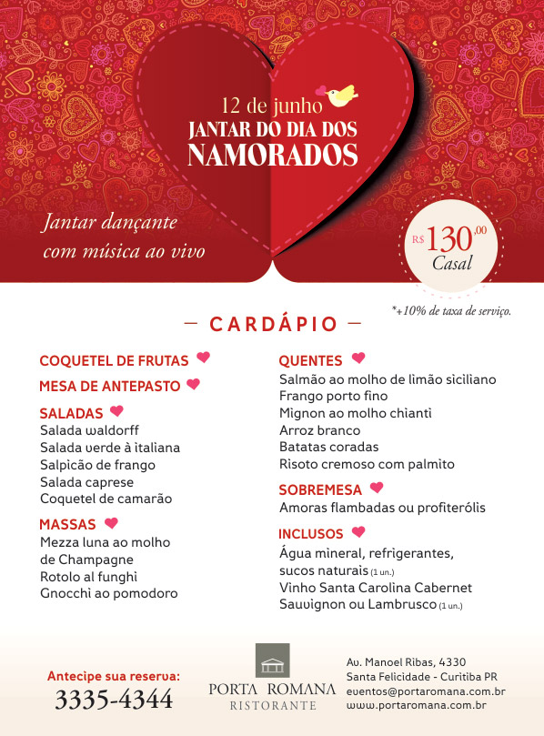 Jantar do Dia dos Namorados - Restaurante Porta Romana Santa Felicidade
