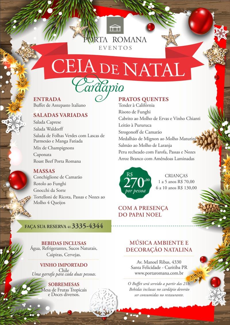 Ceia de Natal - Restaurante Porta Romana Curitiba