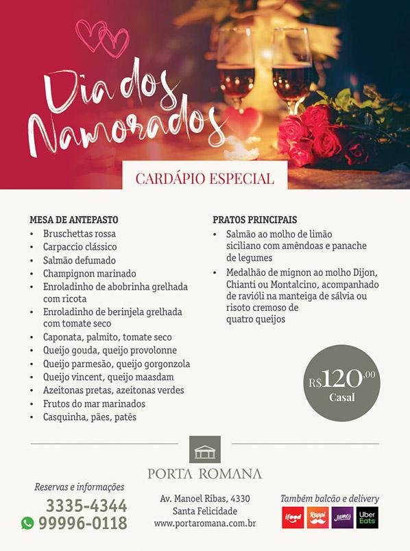 Jantar do dia dos Namorados - Restaurante Porta Romana Curitiba